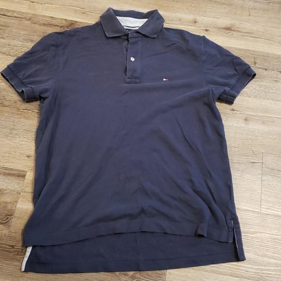 537a8847 Tommy Hilfiger Shirts | Navy Blue Polo Collar Shirt | Poshmark